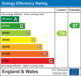 Energy efficiency rating: 74 current, 87 potential