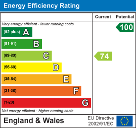 Energy efficiency rating: 74 current, 100 potential