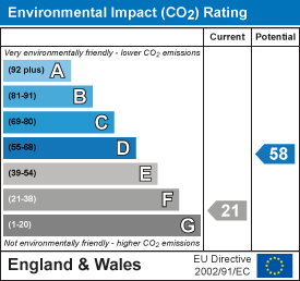 Environmental impact (CO2) rating: 21 current, 58 potential