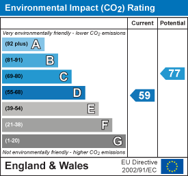Environmental impact (CO2) rating: 59 current, 77 potential