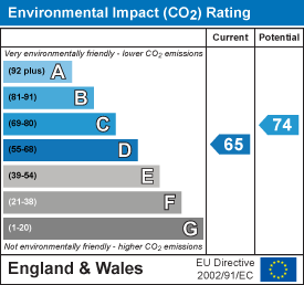 Environmental impact (CO2) rating: 65 current, 74 potential
