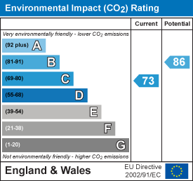 Environmental impact (CO2) rating: 73 current, 86 potential
