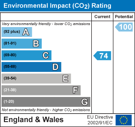 Environmental impact (CO2) rating: 74 current, 100 potential